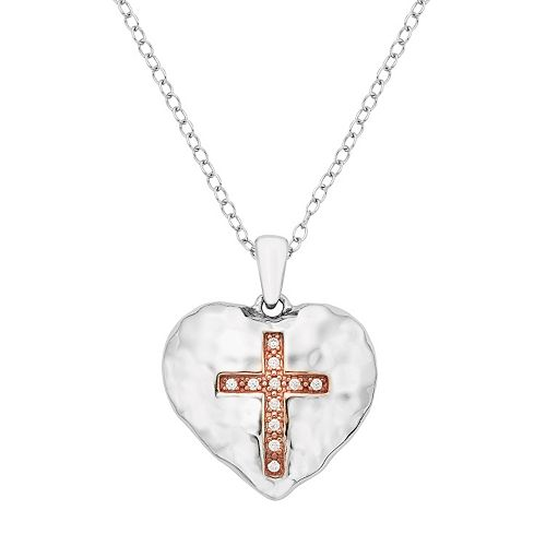Sterling Silver Diamond Accent Cross Heart Pendant Necklace