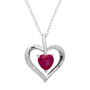 Sterling Silver Lab-Created Ruby & Diamond Accent Heart Pendant Necklace