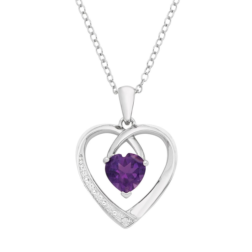 Sterling Silver Amethyst & Diamond Accent Heart Pendant Necklace