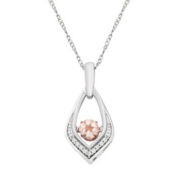 Sterling Silver Morganite & Diamond Accent Pendant Necklace