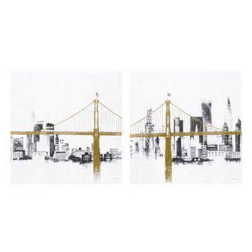 INK+IVY Metallic Bridge & Skyline Canvas Wall Art 2-piece Set