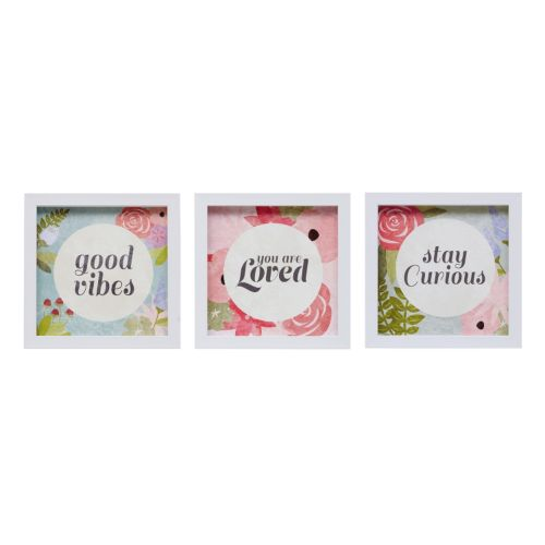 "Intelligent Design ""Good Vibes"" Framed Canvas Wall Art 3-piece Set"