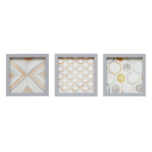 Intelligent Design Geometric Framed Canvas Wall Art 3-piece Set