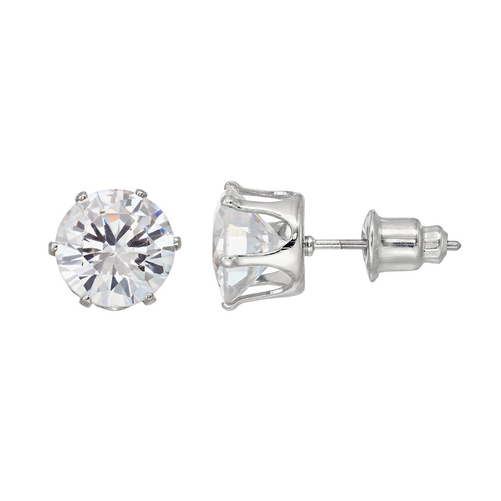 Mudd® Simulated Crystal Nickel Free Solitaire Stud Earrings