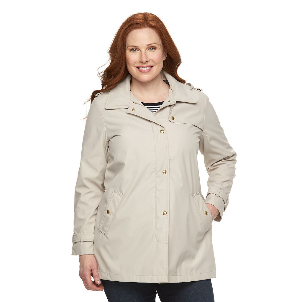 Plus Size Weathercast Hooded Rain Jacket