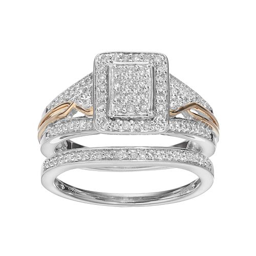 Always Yours Sterling Silver 1/2 Carat T.W. Diamond Halo Engagement Ring Set