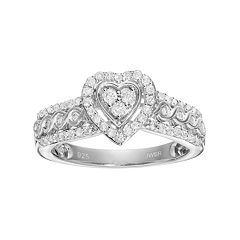 Always Yours Sterling Silver 1/2 Carat T.W. Diamond Heart Halo Engagement Ring