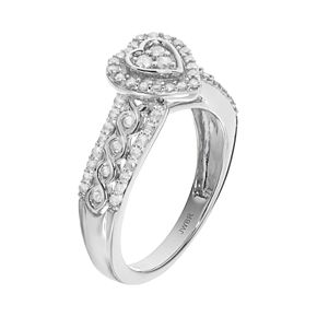 Always YoursSterling Silver 1/2 Carat T.W. Diamond Heart Halo Engagement Ring