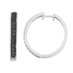 Sterling Silver 1/10 Carat T.W. Black Diamond Hoop Earrings