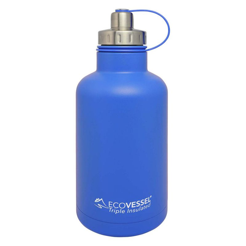 Eco Vessel Sports Bottles 64 oz. Boss Triple Insulated Growler with Screw Cap - Hudson Blue GRL1900HB