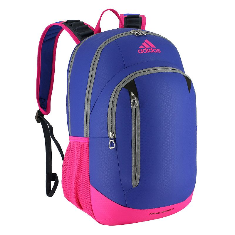 Adidas Mission Laptop Backpack, Blue With multiple compartments and a space for your laptop, this Adidas Mission backpack has everything you need to hit the books. Exterior pocket holds small accessories Zippered organizer pocket Loadspring shoulder straps for easy carrying Padded back panel Drop mesh water bottle pockets keep you hydrated Laptop pocket fits up to a 15.4-inch laptop Convenient exterior zip compartments offer quick access and organized storage 19 H x 13.5 W x 12.75 D Weight: 1.4 lbs. Polyester Zipper closure Manufacturer's lifetime limited warrantyFor warranty information please click here Model no. 51408 Size: One size. Color: Blue. Gender: Unisex.