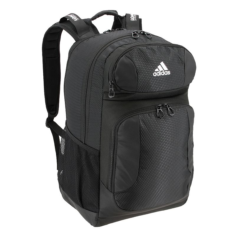 Adidas Strength Laptop Backpack, Black Sporty and highly functional, this Adidas Strength backpack has plenty of space for your school essentials. Hydroshield water-resistant base keeps contents dry Zippered organizer pocket Loadspring shoulder straps for easy carrying Padded tricot back panel Zippered cooler pocket Laptop pocket fits up to a 17-inch laptop Convenient exterior zip compartments offer quick access and organized storage 19 H x 15 W x 12 D Weight: 1.65 lbs. Polyester Zipper closure Manufacturer's lifetime limited warrantyFor warranty information please click here Model no. 51407 Size: One size. Color: Black. Gender: Unisex.