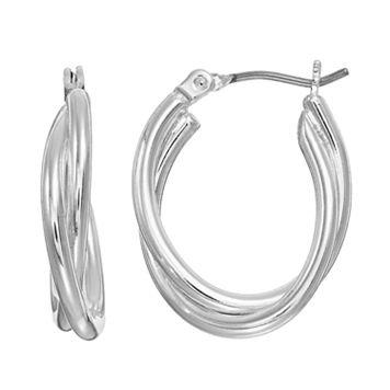 Dana Buchman Crosscross Double Oval Hoop Earrings