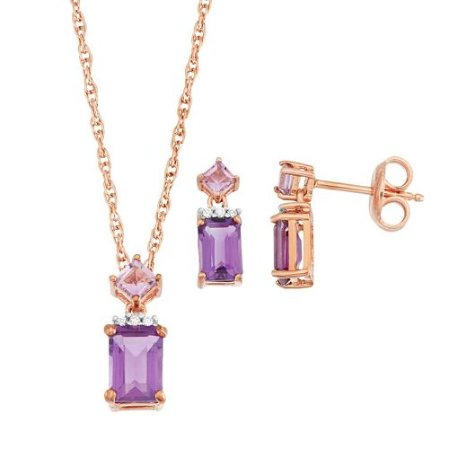 18k Rose Gold Over Silver Gemstone & Cubic Zirconia Jewelry Set
