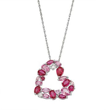 Sterling Silver Lab-Created Gemstone Heart Pendant Necklace