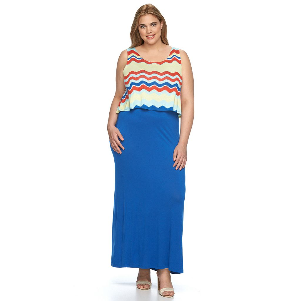 Plus Size Design 365 Printed Popover Maxi Dress