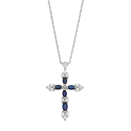 Sterling Silver Lab-Created Blue & White Sapphire Cross Pendant
