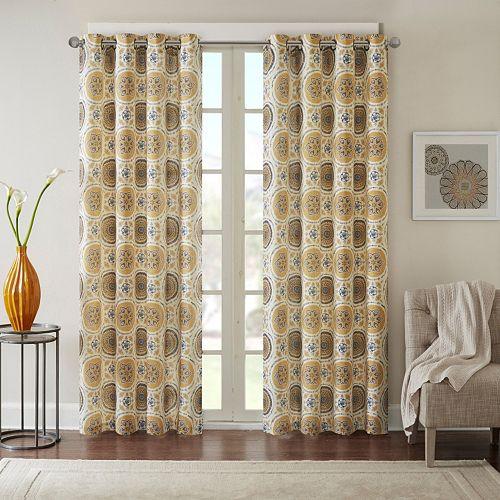 Madison Park 1-Panel Perugia Medallion Linen Blend Window Curtain