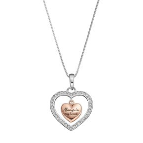 """Timeless Sterling Silver Two Tone Crystal """"Sisters"""" Heart Pendant"""