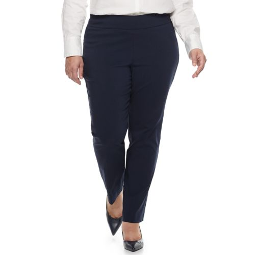 Plus Size Dana Buchman Slimming Pull-On Pants