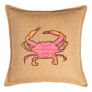 Greendale Home Fashions Crab Burlap Throw Pillow