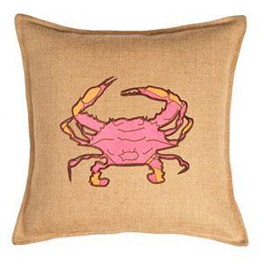 Greendale Home Fashions Crab Burlap Throw Pillow