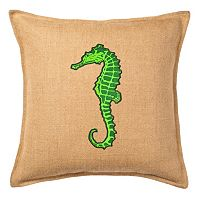 Greendale Home Fashions Seahorse Burlap Throw Pillow