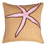 Greendale Home Fashions Starfish Burlap Throw Pillow