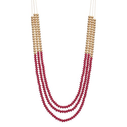 Long Pink Beaded Multi Strand Necklace
