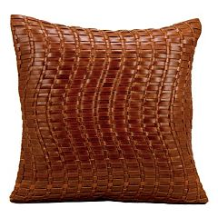 Mina Victory Baskwetweave Leather Throw Pillow
