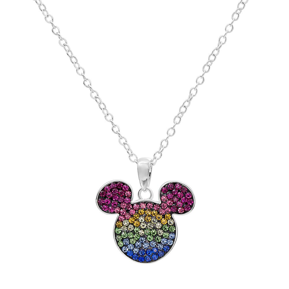 Disneys mickey mouse sterling silver crystal pendant necklace aloadofball Gallery