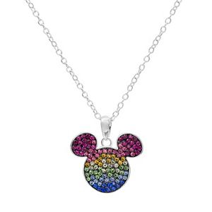 Disney's Mickey Mouse Sterling Silver Crystal Pendant Necklace