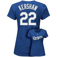 Plus Size Majestic Los Angeles Dodgers Clayton Kershaw Player Name and Number Tee