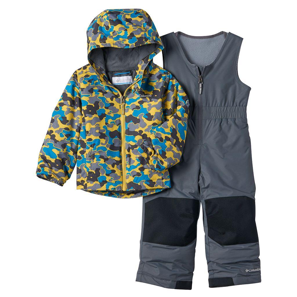 Toddler Boy Columbia OUTGROWN Camouflage Jacket & Reinforced Bib Snow Pants Set