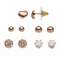 Apt. 9® Heart, Ball & Cubic Zirconia Nickel Free Stud Earring Set