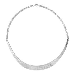 Sterling Silver Greek Key Collar Necklace