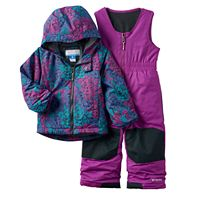 Toddler Girl Columbia OUTGROWN Fleece-Lined Jacket & Reinforced Bib Snow Pants Set
