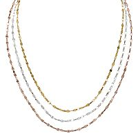 Tri-Tone Sterling Silver Layered Necklace