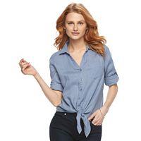 Women's Harve Benard Tie-Front Linen Shirt