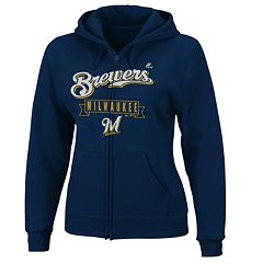 Plus Size Majestic Milwaukee Brewers Fleece Zip-Up Hoodie