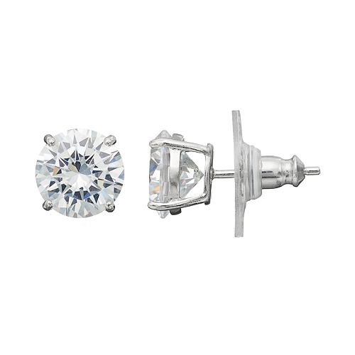 PRIMROSE Sterling Silver Cubic Zirconia Stud Earrings