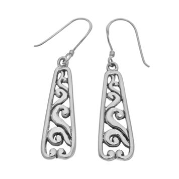 Sterling Silver Scroll Obelisk Drop Earrings