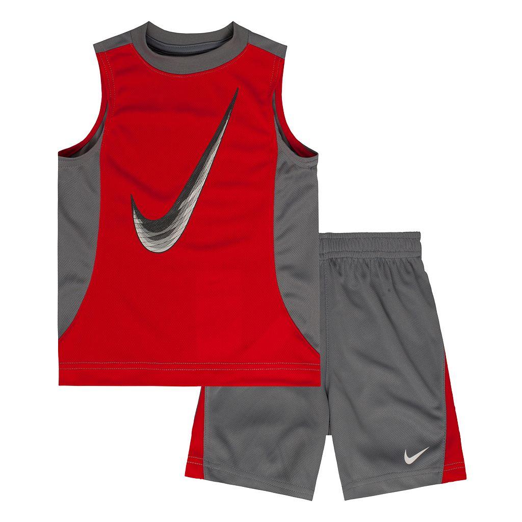 Toddler Boy Nike Colorblock Swoosh Muscle Tank & Shorts Set