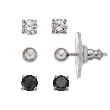 PRIMROSE Sterling Silver White & Black Cubic Zirconia Ball Stud Earring Set