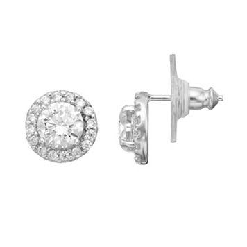 PRIMROSE Sterling Silver Cubic Zirconia Halo Stud Earrings