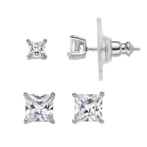 PRIMROSE Sterling Silver Cubic Zirconia Square Stud Earring Set