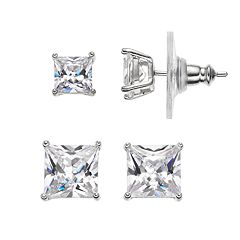 PRIMROSE Sterling Silver Cubic Zirconia Square Stud Earring Set