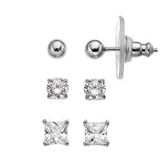 PRIMROSE Sterling Silver Cubic Zirconia Ball Stud Earring Set