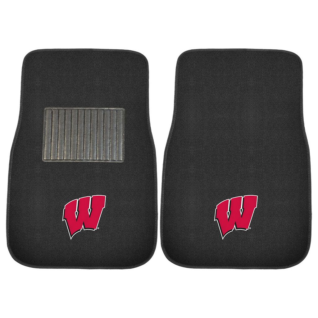FANMATS Wisconsin Badgers 2-Pack Embroidered Car Mats