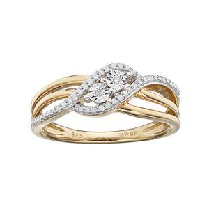 Two Tone Sterling Silver 1/10 Carat T.W. Diamond Twist Ring